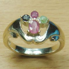 Genuine Ruby Emerald Sapphire 925 Sterling Silver Ring