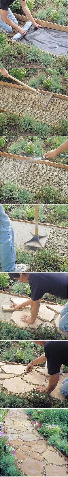 The perfect addition to your own home zen garden: a Flagstone Path Tutorial. SA- I would use this technique without the large stone for a path to a zen garden specifically. Backyard Projects, Outdoor Projects, Garden Projects, Backyard Ideas, Pool Ideas, Garden Ideas, Backyard Games, Outdoor Ideas, Garden Paths
