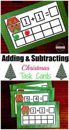 FREE Christmas Math using Ten Frame Task Cards - perfect for math centers to help preschool, kindergarten, first grade students practice addition and subtraction Subtraction Kindergarten, Kindergarten Centers, Math Activities, Preschool Kindergarten, Math Centers, Math Games, Kindergarten Christmas Crafts, Christmas Activities, Theme Noel