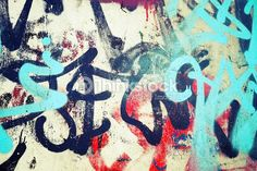 Stock Photo : Graffiti patterns over old urban concrete wal