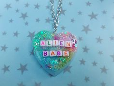 Space Grunge Alien Babe Resin Necklace by CosmicWishes on Etsy