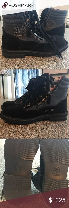 NIB Chanel 15C Black Grey Suede Boots 37.5 (7 1/2) NIB Chanel 15C Black Grey Suede Cruise CC Lace Up Short Combat Boots 37 $1425 Retail Price. Boots in bag and box. G30614Y15675 OBO CHANEL Shoes Lace Up Boots