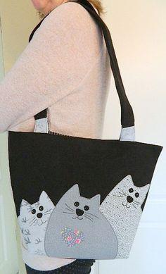 Tragetaschen - Tasche mit Katzen - ein Designerstück von JENNICK bei DaWanda