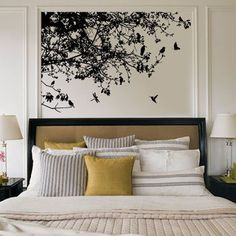 Baum+Ast+Blätter+mit+Vögel+Wandtattoo+Aufkleber+von+toymaya+auf+DaWanda.com