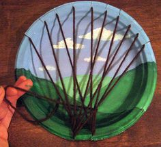 tree weaving with painted background on a plate