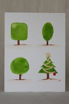 Four Trees Christmas Watercolor Card  Original by TheLovelyStains, $3.75
