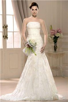 幻想的なストラップレストランペット/マーメイド床長さチャペルウェディングドレス