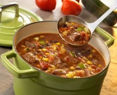 Tex-Mex Vegetable Beef Soup-is an easy and hearty stovetop recipe for a flavorful and spicy soup. Made with beef chuck roast, corn, zucchini, tomatoes and onion, spiced well. A great soup recipe for the Autumn and Winter months. It is also a healthy, low calories, low fat, low carbohydrates, WeightWatchers (6) PointsPlus recipe. Makes 6 servings.
