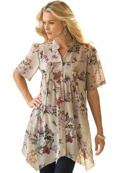 Plus Size Floral Blouse - blouse kopen, ladies chiffon blouse, white blouse short sleeve *ad Plus Size Shirts, Plus Size Tops, Modest Fashion, Fashion Outfits, Fashion Trends, Trending Fashion, Fashion Inspiration, Floral Blouse, Floral Tops