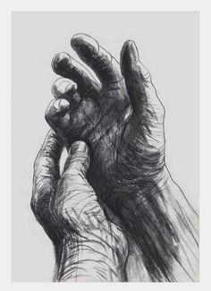 Henry Moore ~ The artist's hands, 1974 (drawing)