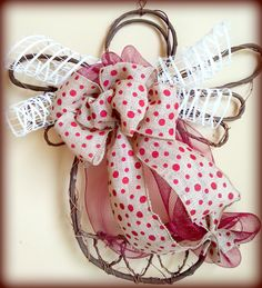 Polka Dot Burlap and Burgundy Deco Mesh Bow Grapevine Angel by Windy Willow Designs on Facebook