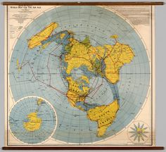 Detailed flat earth map flat with dome pinterest flat earth rand mcnallys world map for the air age 1942 gumiabroncs Gallery