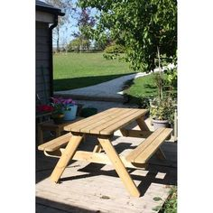 Picnic bench seating 6 people constructed from 32mm thick FSC certified pine with countersunk bolts. Free UK delivery.