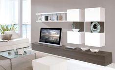 wohnzimmermöbel modern wohnwand wandregale weiß