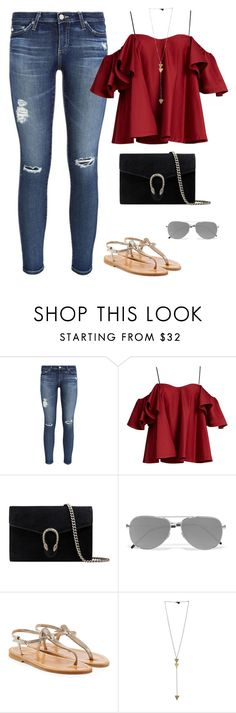 """Summer"" by nadiaamrc ❤ liked on Polyvore featuring AG Adriano Goldschmied, Anna October, Gucci, Yves Saint Laurent and K. Jacques"