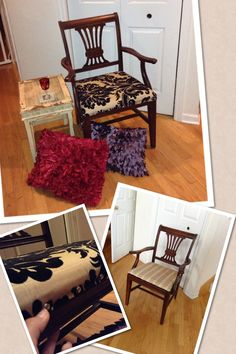 Sittin' on pins! Old chair, old pillow case, and new pins! By SycamoreHomeGirl
