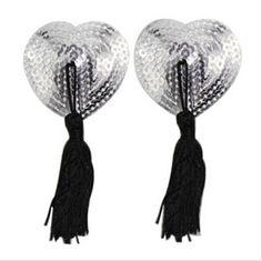 2pcs/set Sexy Self Adhesive Sequin Tassel Cover Heart Shape Bra Nipple Cover Pasties Breast Petals Free Shiping 6 colors