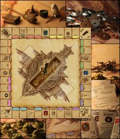 harry potter monopoly, board and cards designed in photoshop, figures mady with fimo instead of houses and hotels: protection charms (wands) and house elfs money: galleons, sickles, knuts 9/12
