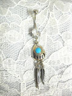 Inspiration Dezigns 14GA Aztec Turquoise Paved Circle and Feather Dangle 316L Surgical Steel Jeweled Ball Belly Button Navel Rings