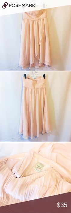 Anthro blush peach pink strapless dress Like new! So cute perfect for summer weddings has soft inner lining and structured bust Anthropologie Dresses Strapless