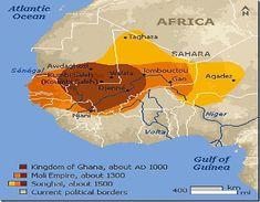 Royaume du Ghana (apogée au XIIIe), Empire du Mali (apogée au XIVe), Empire Songhai (apogée au XV-XVIe)
