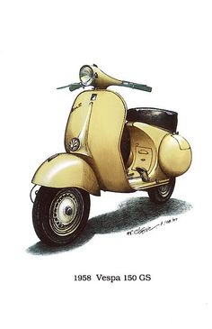 light yellow 1958 Vespa 150 gs motorbike $3