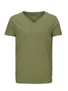 JACK & JONES T-Shirt Split-Neck grün