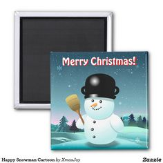 Happy Snowman Cartoon 2 Inch Square Magnet | 20% OFF anything, 50% OFF golf balls with Coupon Code GOLFBALLZZ50  Offer is valid through December 15, 2015 11:59PM PT.