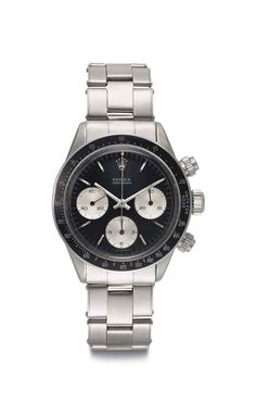 Rolex. A Fine and Rare Stainless Steel Chronograph Wristwatch with Bracelet   SIGNED ROLEX, COSMOGRAPH DAYTONA, REF. 6240, CASE NO. 1'206'058, CIRCA 1965   1960s, chronograph   Christie's