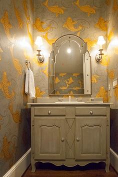 For powder room? Lucy and Company - bathrooms - Osborne and Little Derwent Wallpaper, koi wallpaper, fish wallpaper, wallpapered powder room, powder room wal. Goldfish Wallpaper, Bathroom Wallpaper Fish, Koi Wallpaper, Osborne And Little Wallpaper, Oriental Wallpaper, Powder Room Wallpaper, Wallpaper Online, Vintage Modern, Downstairs Toilet