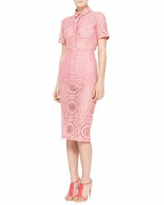 Trellis Lace Short-Sleeve Shirt and Midi Pencil Skirt by Burberry Prorsum at Neiman Marcus.