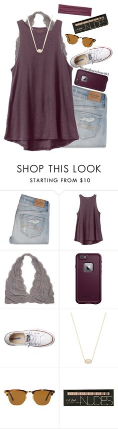 """Maroon"" by carolinescloset93 ❤ liked on Polyvore featuring Abercrombie & Fitch, RVCA, LifeProof, Converse, Kendra Scott, Ray-Ban and Pistil"