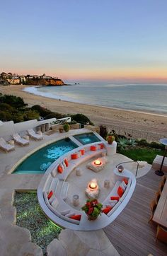 outdoor living - that would be a great beach house for the vacation! Outdoor Spaces, Outdoor Living, Outdoor Kitchens, Luxury Pools, Luxury Cars, Dream Pools, Cool Pools, Bungalows, My Dream Home