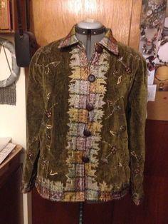 """Sportsgirl"" Stunning Green Velvet and Brocade Trim Jacket M | eBay"