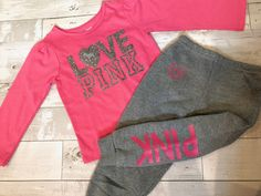 Toddler Baby Girls Love Pink Size 2T Fall Winter Sweatpants Clothes Outfit Sets