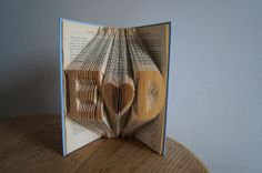 Valentine gift for boyfriend/girlfriend-Wedding top table centerpieces-Personalized gift-Initial Folded Book Art-made to order on Etsy, $59.26