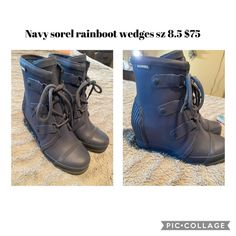 Navy colored Sorel rain boot wedges size 8.5 practically brand new! Sorel Wedge Boots, Boot Wedges, Navy Color, Hiking Boots, Brand New, Shoes, Fashion, Moda, Zapatos
