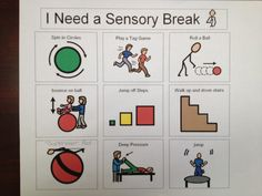 Sensory break visual cards for Autism & Special Needs http://greenbeankindergarten.wordpress.com