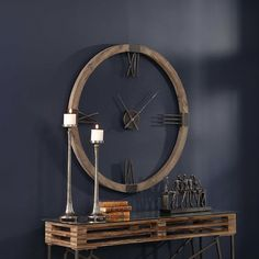 Williston Forge Natural stained, fir wood clock frame with hand-forged, aged iron roman numerals and floating center dial. Modern Clock, Modern Wall, Large Metal Wall Clock, Large Clock, Wood Clocks, Wall Of Clocks, Unique Wall Clocks, Diy Clock, Clock Ideas