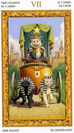 VII - Le chariot - Tarot chats blancs par Severino Baraldi