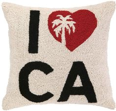Phi I Heart CA With Palm Tree Wool & Cotton Pillow