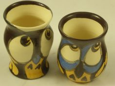 """Two """"shot"""" size tumblers in ceramic with hand-painted owl motifs by AlecPDavis on Etsy"""