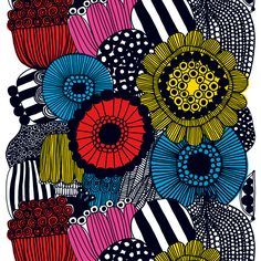 Siirtolapuutarha fabric, colourful: My favorite print by Marimekko!