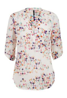 multicolor patterned chiffon blouse with pocket (original price, $29) available at #Maurices