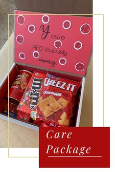 Red-themed care package: great for college care package Bff Birthday Gift, Birthday Gifts For Husband, Friend Birthday, Cheap Birthday Gifts, Boyfriend Care Package, Cute Boyfriend Gifts, Care Package Ideas For Boyfriend Just Because, Cheap Gift Boxes, Cute Gift Boxes
