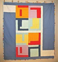 Handmade City Squares Modern Quilt.