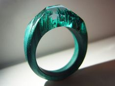 Hornbeam wood ring Summer Dew.  Womens wooden ring.  Wood ring resin.  Wooden fashion jewelry. Like secret wood ring. In stock 9.0 size