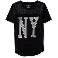 Aeropostale NY Sidewinder Graphic T ($8) ❤ liked on Polyvore featuring tops, t-shirts, shirts, black, snakeskin t shirt, graphic shirts, aeropostale t shirts, metallic t shirt and graphic t shirts