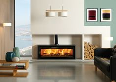 open plan living with double sided woodburner in wall divider - Google Search