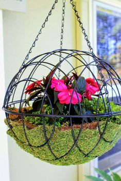 Hanging garden spheres are a unique alternative to hanging baskets, and the simple and classic round shape looks great in almost any garden setting.Recently, I saw a beautiful hanging garden sphere at Hanging Metal Baskets, Diy Hanging Planter, Hanging Flower Baskets, Hanging Succulents, Hanging Plants, Garden Spheres, Diy Concrete Planters, Decorative Planters, Mosaic Flower Pots